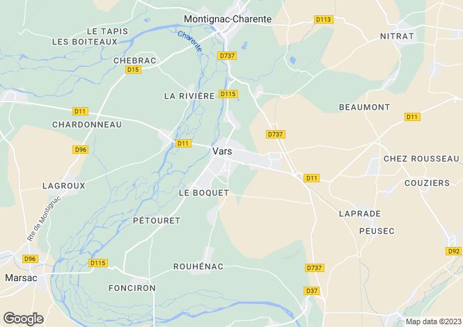 Map for vars, Charente, France