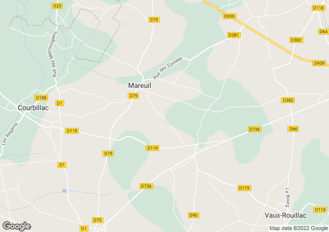 Map for mareuil, Charente, France