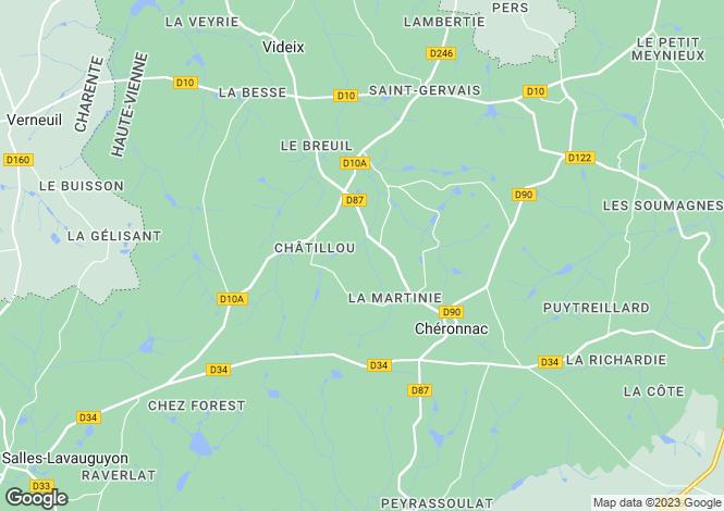 Map for Limousin, Haute-Vienne, Chéronnac