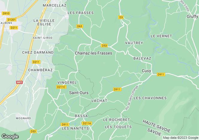 Map for Chainaz-les-Frasses, 74540, France