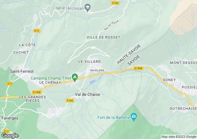 Map for Rhone Alps, Haute-Savoie, Marlens