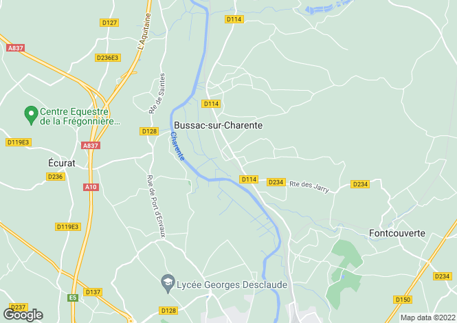 Map for saintes, Charente-Maritime, France