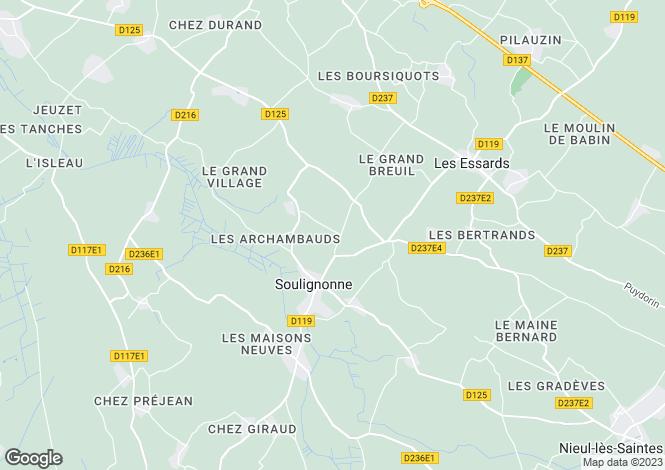 Map for Poitou-Charentes, Charente-Maritime, Soulignonne