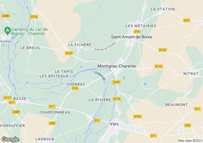 Map for montignac-charente, Charente, France