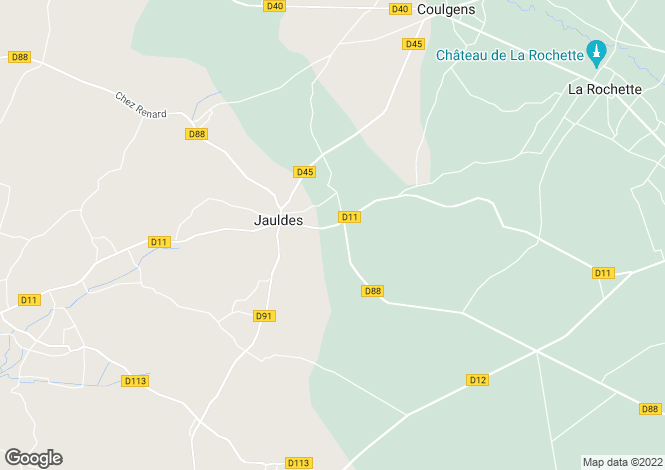 Map for jauldes, Charente, France