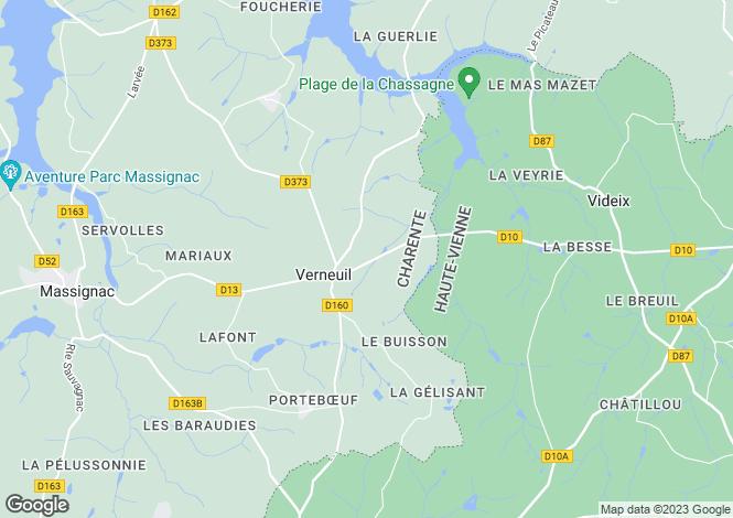 Map for Poitou-Charentes, Charente, Verneuil
