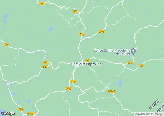 Map for Limousin, Creuse, Gentioux-Pigerolles
