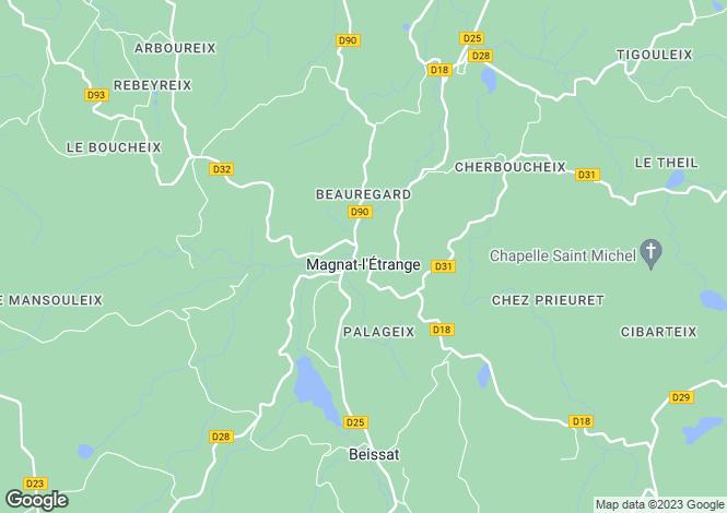 Map for Magnat-l`Étrange, Creuse, Limousin