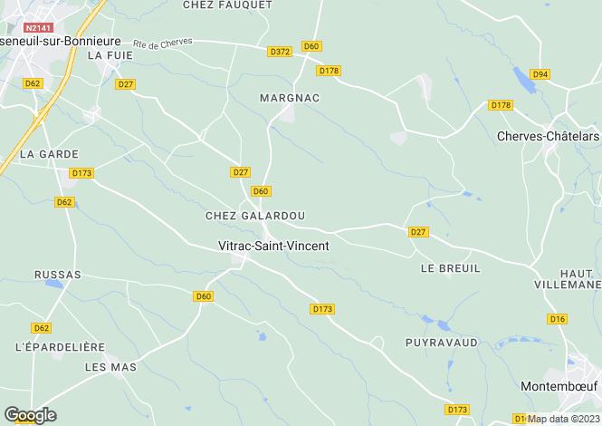 Map for vitrac-st-vincent, Charente, France