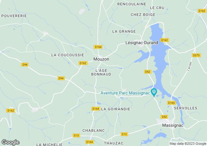 Map for Poitou-Charentes, Charente, Mouzon