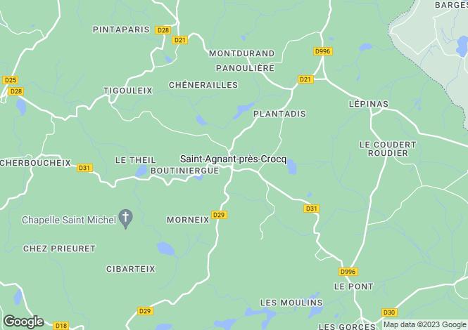 Map for St-Agnant-près-Crocq, Creuse, Limousin