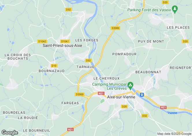 Map for Aixe-sur-Vienne, Haute-Vienne, Limousin
