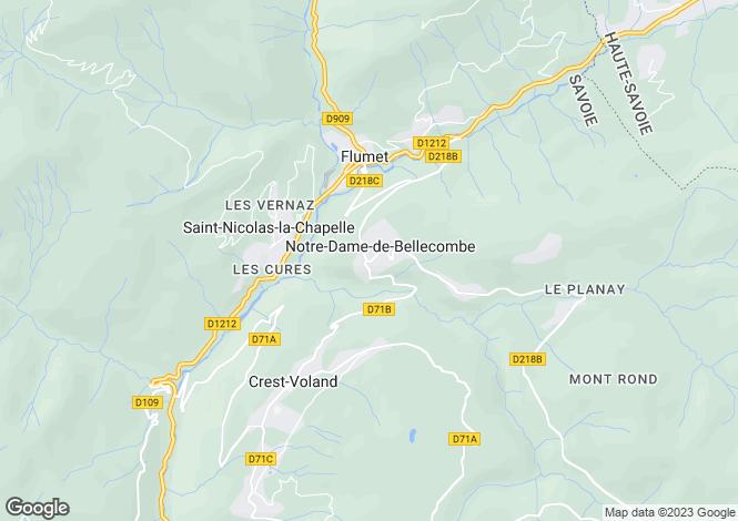 Map for Notre Dame de Bellecombe, Haute Savoie, France, 73590