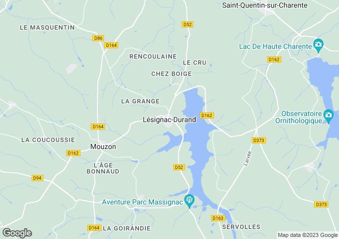 Map for Lesignac-Durand, Poitou-Charentes, 16310, France
