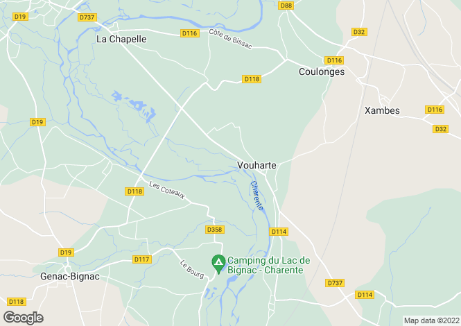 Map for vouharte, Charente, France