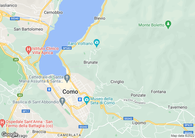 Map for Lombardy, Como, Brunate