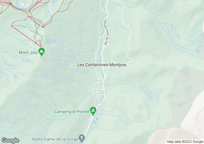 Map for Les Contamines Montjoie, Rhone-Alpes