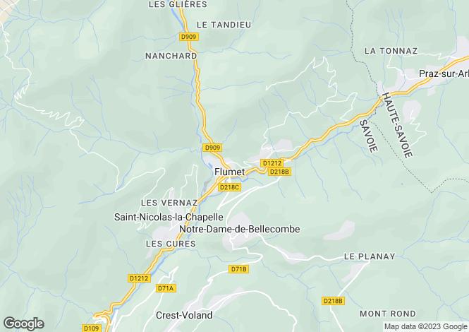 Map for Flumet, Haute Savoie, France, 73590