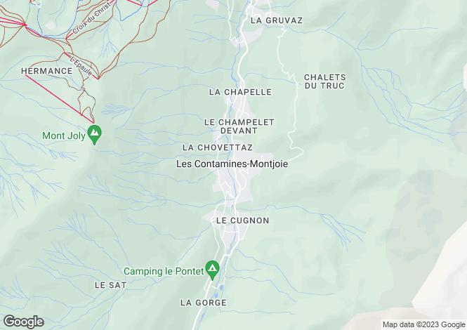 Map for Les Contamines Montjoie, Haute Savoie, France, 74170