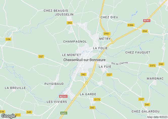 Map for Secteur: Chasseneuil-sur-Bonnieure, Charente