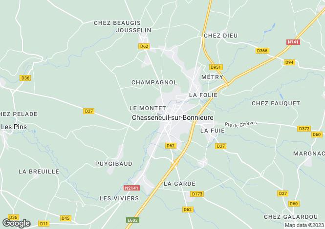 Map for Poitou-Charentes, Charente, Chasseneuil-sur-Bonnieure