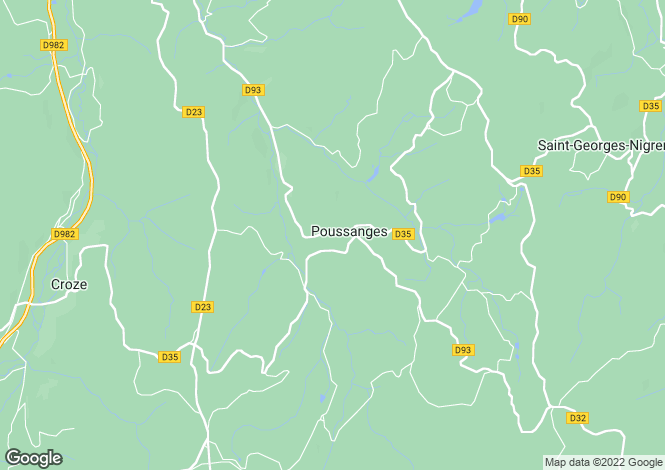 Map for POUSSANGES, 23500, France