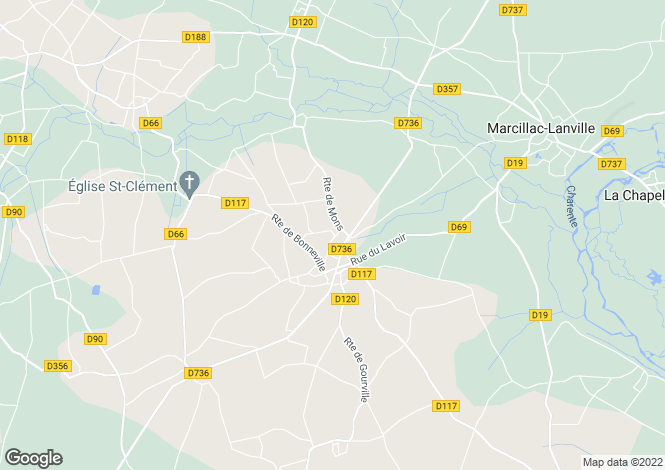 Map for gourville, Charente, France