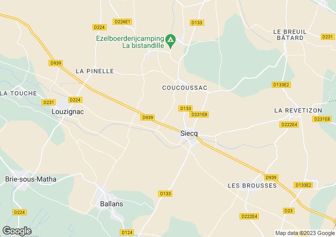 Map for Poitou-Charentes, Charente-Maritime, Siecq