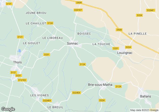 Map for sonnac, Charente-Maritime, France