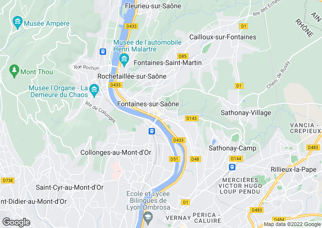 Map for Fontaines-sur-Saône, 69270, France