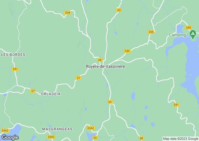 Map for royere-de-vassiviere, Creuse, France