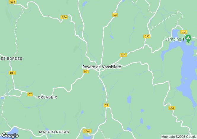 Map for Royère-de-Vassivière, Creuse, Limousin