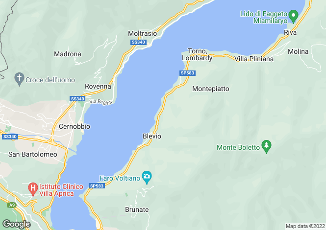 Map for Blevio, Como, Lombardy