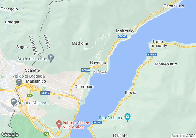 Map for Lombardy, Como, Rovenna