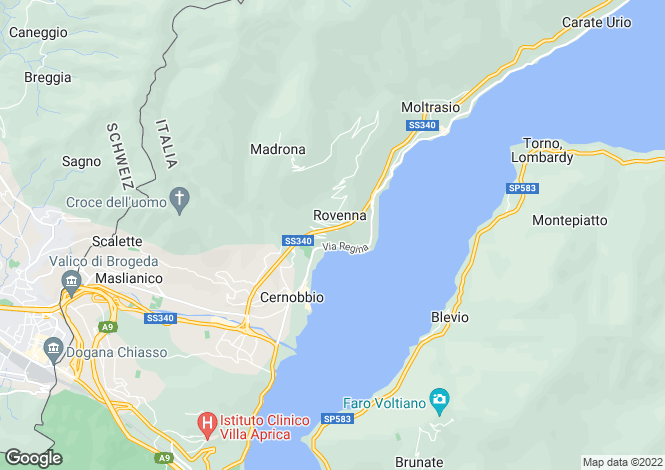 Map for Lombardy, Como, Cernobbio