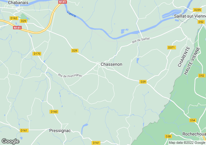 Map for chassenon, Charente, France