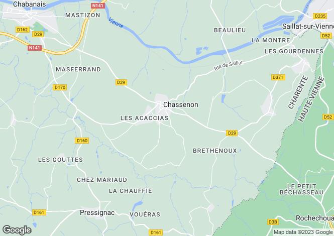 Map for Poitou-Charentes, Charente, Chassenon