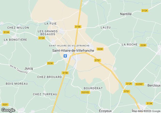 Map for Poitou-Charentes, Charente-Maritime, St-Hilaire-de-Villefranche