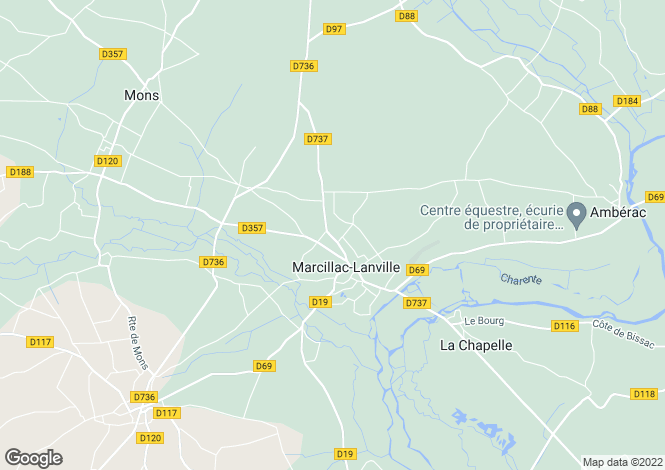 Map for marcillac-lanville, Charente, France