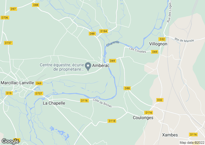 Map for amberac, Charente, France