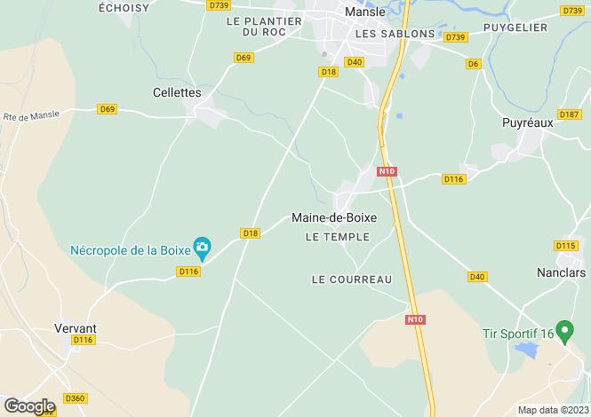 Map for maine-de-boixe, Charente, France