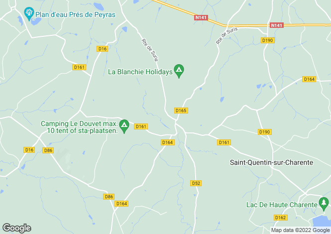 Map for suris, Charente, France