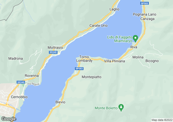 Map for Lombardy, Como, Torno