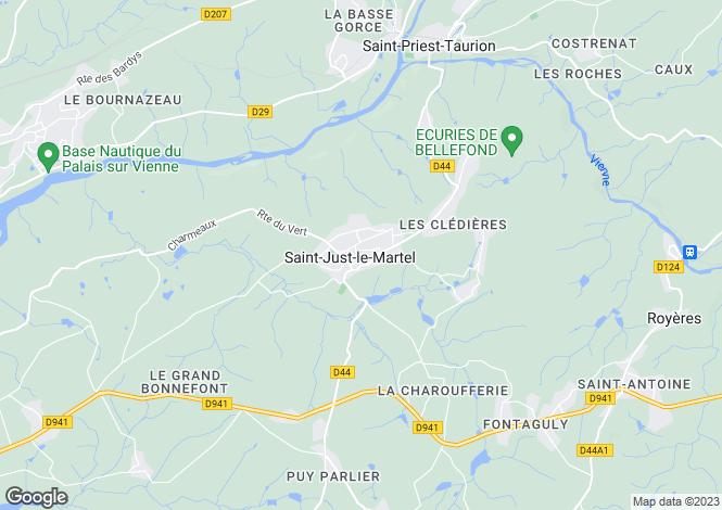 Map for Limousin, Haute-Vienne, St-Just-le-Martel