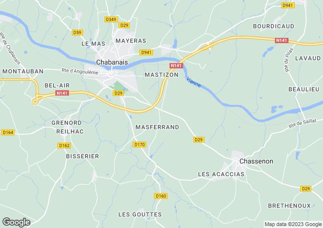Map for Secteur: Chabanais, Charente