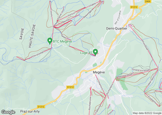 Map for Megève, French Alps