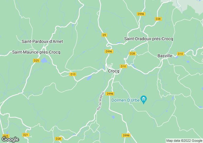 Map for crocq, Creuse, France