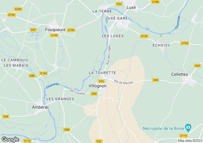 Map for villognon, Charente, France