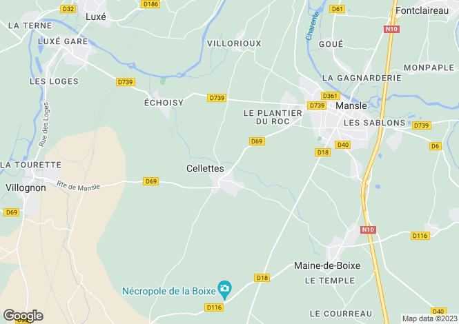 Map for Poitou-Charentes, Charente, Cellettes