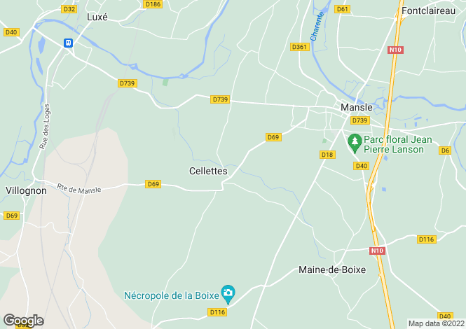 Map for cellettes, Charente, France